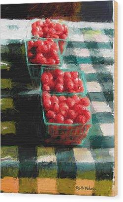 Cherry Tomato Basket Wood Print by RG McMahon