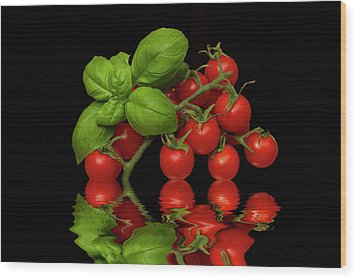 Wood Print featuring the photograph Cherry Tomatoes And Basil by David French