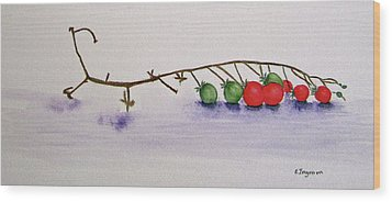 Cherry Tomatoe Vine Wood Print