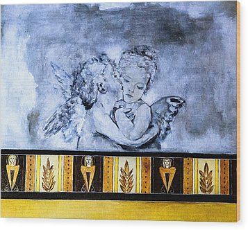Wood Print featuring the photograph Cherub Friendship by Marion McCristall