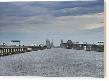 Chesapeake Bay Bridge Maryland Wood Print by Brendan Reals