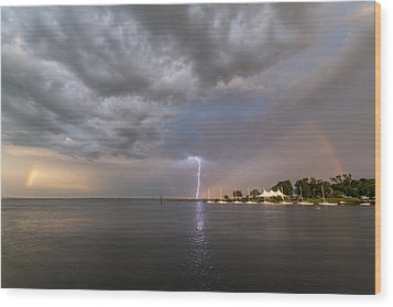 Chesapeake Bay Rainbow Lighting Wood Print by Jennifer Casey