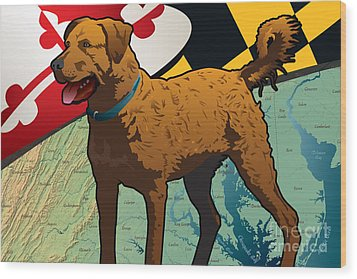Chesapeake Bay Retriever Of Maryland  Wood Print by Joe Barsin