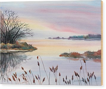 Wood Print featuring the painting Chesapeake Bay Sunset by Yolanda Koh