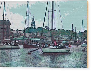 Wood Print featuring the painting Chesapeake Bayscape by Elinor Mavor