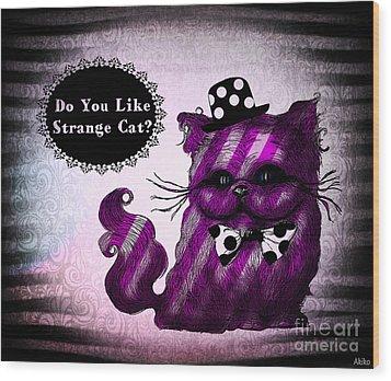 Cheshire Cat Wood Print by Akiko Okabe