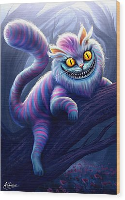 Cheshire Cat Wood Print by Anthony Christou