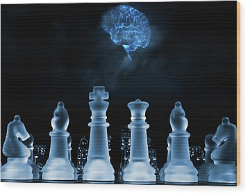 Wood Print featuring the photograph Chess Game And Human Brain by Christian Lagereek