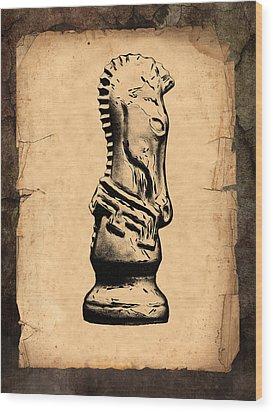 Chess Knight Wood Print by Tom Mc Nemar