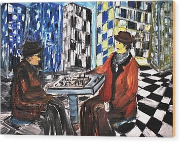 Chess Mania Wood Print by Evelina Popilian