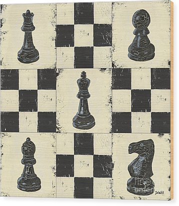 Chess Pieces Wood Print by Debbie DeWitt