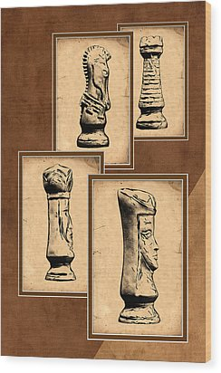 Chess Pieces Wood Print by Tom Mc Nemar