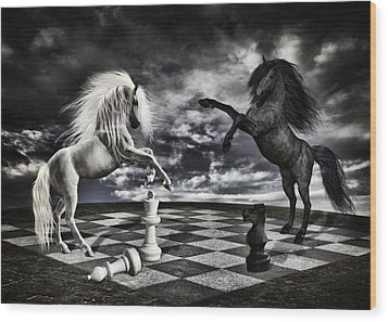 Chess Players Wood Print by Mihaela Pater