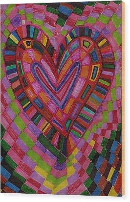 Chessire Heart Wood Print by Brenda Adams