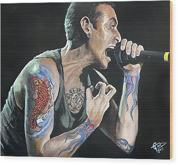 Chester Bennington Wood Print by Tom Carlton