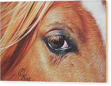 Chestnut Close-up Wood Print by Elena Kolotusha