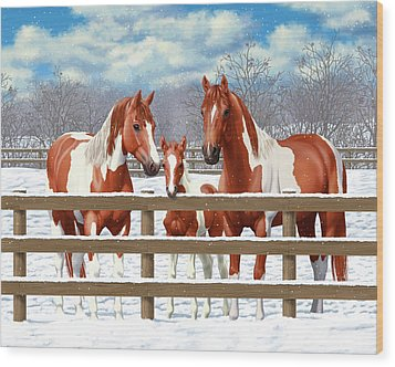 Chestnut Paint Horses In Snow Wood Print by Crista Forest