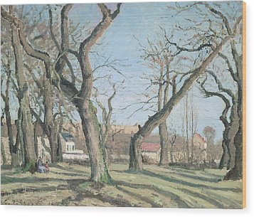 Chestnut Trees At Louveciennes Wood Print by Camille Pissarro