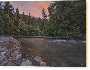 Wood Print featuring the photograph Chetco River Sunset by Leland D Howard