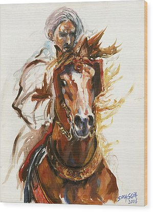 Cheval Arabe Monte En Action Wood Print by Josette SPIAGGIA