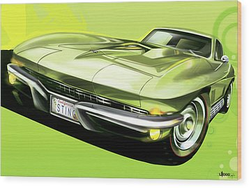 Chevrolet Corvette C2 Sting Ray Wood Print by Uli Gonzalez