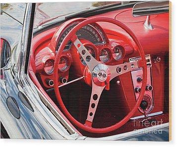 Wood Print featuring the photograph Chevrolet Corvette Dash by Chris Dutton