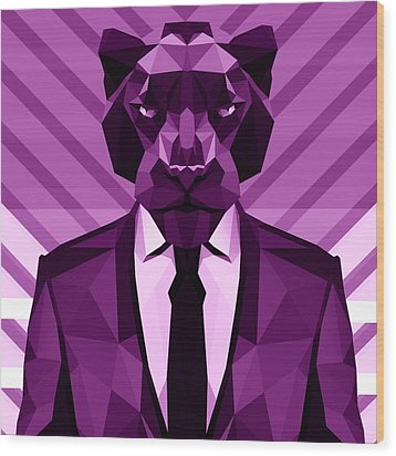 Chevron Panther Wood Print by Gallini Design