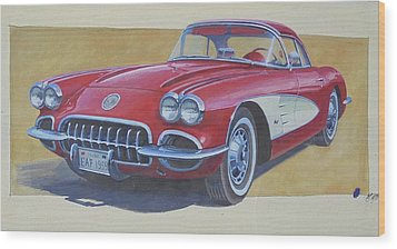 Wood Print featuring the drawing Chevy by Mike Jeffries