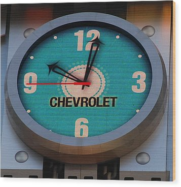 Chevy Neon Clock Wood Print by Rob Hans