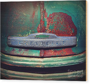 Chevy Rust Wood Print by Perry Webster