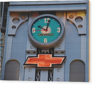 Chevy Times Square Clock Wood Print by Rob Hans