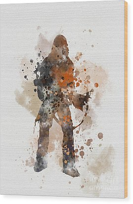 Chewie Wood Print by Rebecca Jenkins