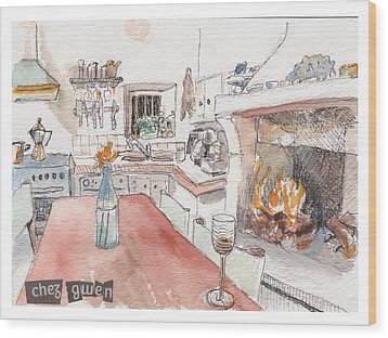 Wood Print featuring the painting Chez Gwen by Tilly Strauss
