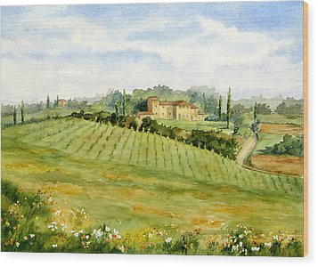 Chianti Villa Wood Print by Vikki Bouffard