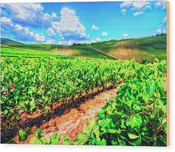 Chianti Vineyard In Tuscany Wood Print by Dominic Piperata