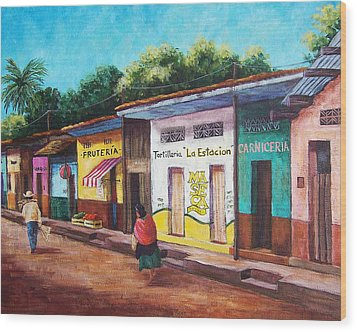 Chiapas Neighborhood Wood Print by Candy Mayer