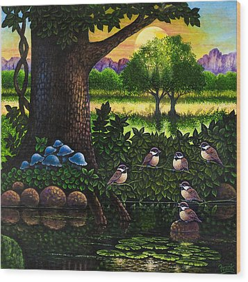 Wood Print featuring the painting Chicadees by Michael Frank