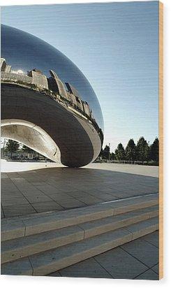 Chicago - Cloud Gate Reflection Wood Print by Dmitriy Margolin