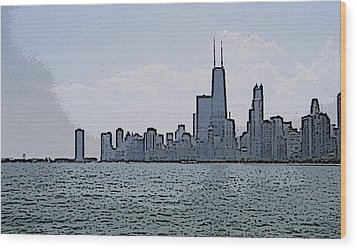 Chicago Across Lake Michigan Wood Print
