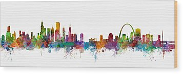 Chicago And St Louis Skyline Mashup Wood Print by Michael Tompsett