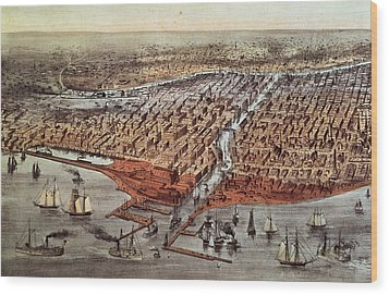 Chicago As It Was Wood Print by Currier and Ives