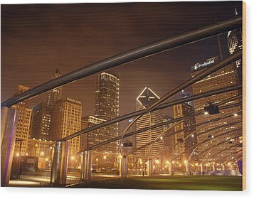 Chicago At Night Wood Print by Andreas Freund