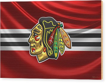 Chicago Blackhawks - 3 D Badge Over Silk Flag Wood Print