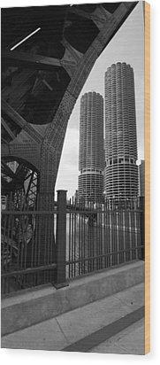 Chicago Bridge And Buildings Wood Print by Dmitriy Margolin