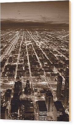 Chicago City Lights West B W Wood Print by Steve Gadomski