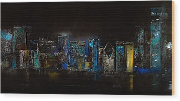 Chicago City Scene Wood Print by Michele Carter