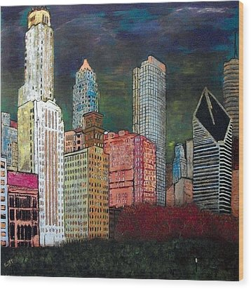 Chicago Cityscape Wood Print by Char Swift