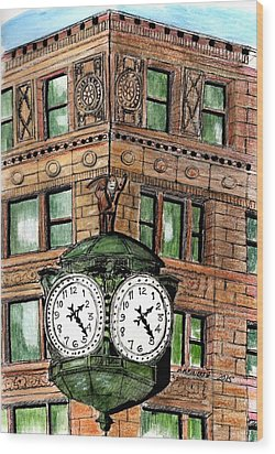 Chicago Clock Wood Print by Paul Meinerth