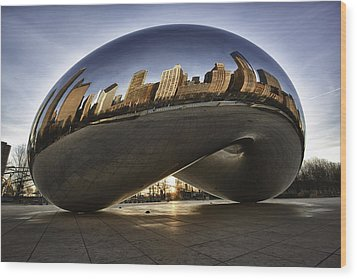 Chicago Cloud Gate At Sunrise Wood Print by Sebastian Musial