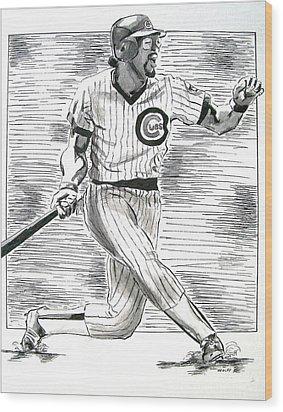 Chicago Cub Leon Durham Wood Print